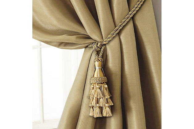 """Home Accents Charlotte Decorative Tassel  Window Curtain Tieback, Gold, 24"""", Gold, large"""