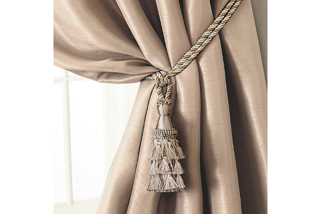 "Home Accents Charlotte Decorative Tassel  Window Curtain Tieback, Ivory, 24"", Ivory, large"