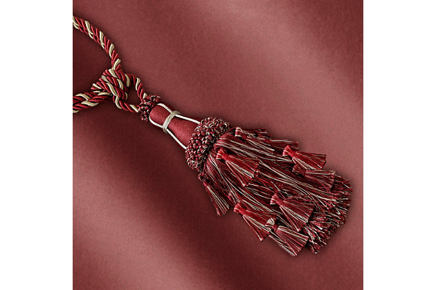 """Home Accents Charlotte Decorative Tassel  Window Curtain Tieback, Red, 24"""", Red, large"""