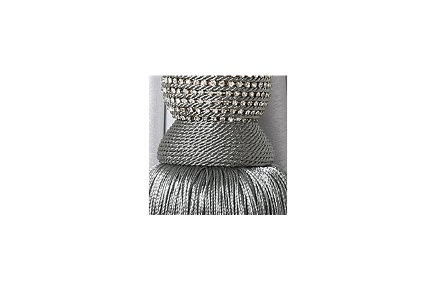 "Home Accents Julia Rhinestone Tassel Window Curtain Tieback, Gray, 26"", Gray, large"