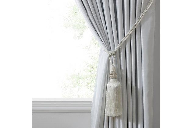 "Home Accents Julia Rhinestone Tassel Window Curtain Tieback, White, 26"", White, large"
