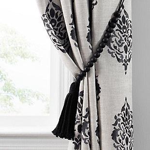 "Home Accents Nomad Decorative Wooden Fringe Tassel Window Curtain Tieback, Black, 25"", Black, large"
