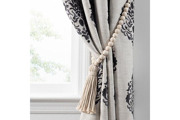 "Home Accents Nomad Decorative Wooden Fringe Tassel Window Curtain Tieback, White Wash, 25"", White, large"