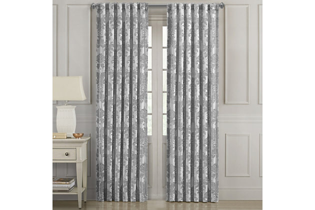 "J. Queen New York J. Queen New York Portofino 50"" x 84"" Window Rod Pocket Panel, Gray, large"