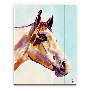 Ralph The Horse Alpha 20 x 24 Wood Plank Wall Art, Blue, large
