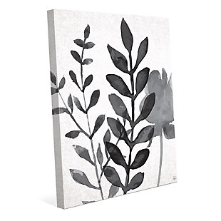 Plant Shadows 24 x 36 Canvas Wall Art, Gray, large