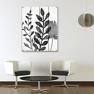 Plant Shadows 20 x 24 Wood Plank Wall Art, Gray, rollover