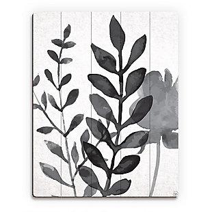Plant Shadows 20 x 24 Wood Plank Wall Art, Gray, large