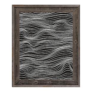 Wavelines White on Black 24 x 36 Barnwood Framed Canvas, Black, large