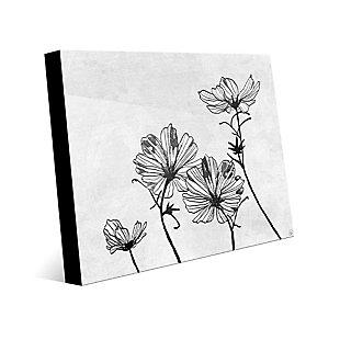 White Flowers 24 x 36 Acrylic Wall Art, Gray, large