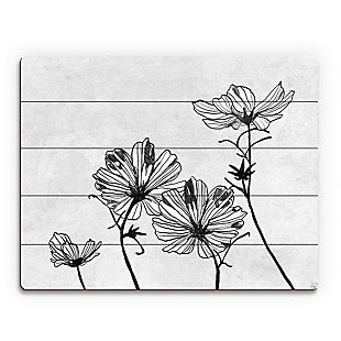 White Flowers 20 x 24 Wood Plank Wall Art, Gray, rollover