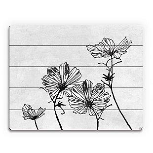 White Flowers 20 x 24 Wood Plank Wall Art, Gray, large