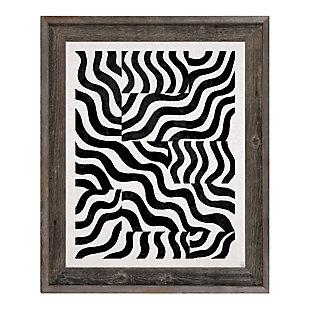 Blocked Zebra Black On White 24 x 36 Barnwood Framed Canvas, Black, large
