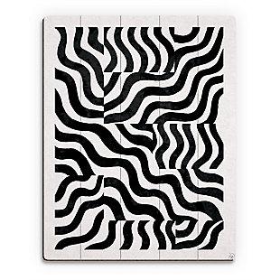 Blocked Zebra Black On White 20 x 24 Wood Plank Wall Art, Black, large