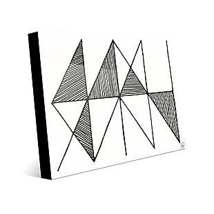 Crosshatch Horizontal Black on White 24 x 36 Acrylic Wall Art, Gray, large