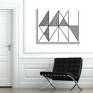 Crosshatch Horizontal Black on White 24 x 36 Canvas Wall Art, Gray, rollover
