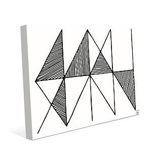 Crosshatch Horizontal Black on White 24 x 36 Canvas Wall Art, Gray, large