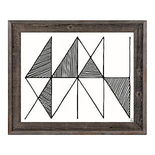 Crosshatch Horizontal Black on White 24 x 36 Barnwood Framed Canvas, Gray, large