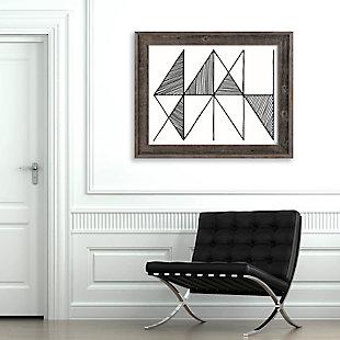 Crosshatch Horizontal Black on White 30 x 40 Barnwood Framed Canvas, , rollover