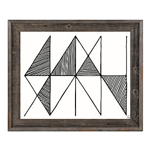 Crosshatch Horizontal Black on White 30 x 40 Barnwood Framed Canvas, , large