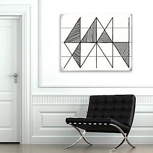 Crosshatch Horizontal Black on White 20 x 30 Wood Plank Wall Art, , rollover