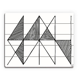 Crosshatch Horizontal Black on White 20 x 30 Wood Plank Wall Art, , large
