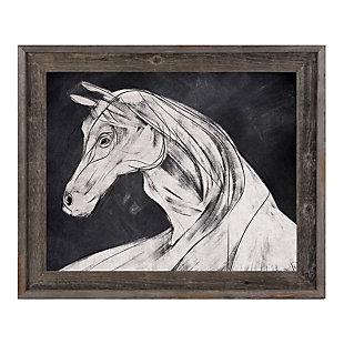 Horse Profile Base Left 24 x 36 Barnwood Framed Canvas, Black, large
