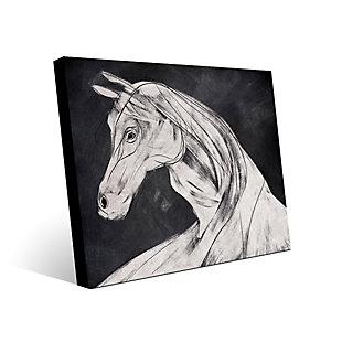 Horse Profile Base Left 24 x 36 Metal Wall Art, Black, rollover