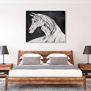 Horse Profile Base Left 24 x 36 Metal Wall Art, Black, large