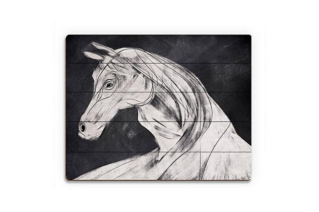 Horse Profile Base Left 20 x 24 Wood Plank Wall Art, Black, large