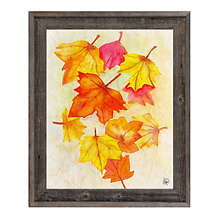 Foglie D'autunno Paper 24 X 36 Barnwood Framed Canvas, Red/Yellow/Orange, rollover