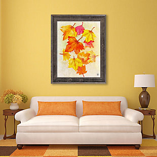 Foglie D'autunno Paper 24 X 36 Barnwood Framed Canvas, Red/Yellow/Orange, large