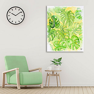 Tropical Feeling 24 x 36 Canvas Wall Art, Green/White, large