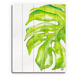 Foglia Gigante Paint 20 x 24 Wood Plank Wall Art, Green/White, rollover