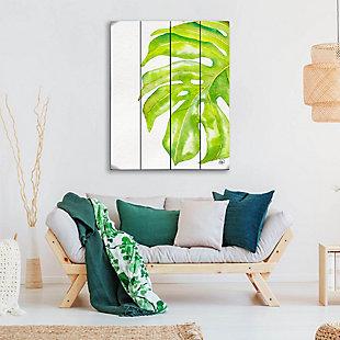 Foglia Gigante Paint 20 x 24 Wood Plank Wall Art, Green/White, large