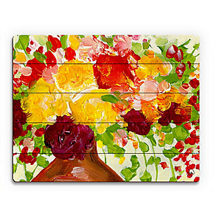 Color of Joy Zoom 20 x 24 Wood Plank Wall Art, Red/Yellow/Green, rollover