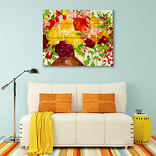Color of Joy Zoom 20 x 24 Wood Plank Wall Art, Red/Yellow/Green, large