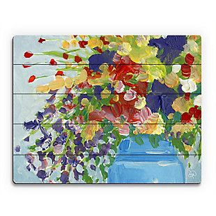 Infinity Close 20 x 24 Wood Plank Wall Art, Blue/Yellow/Red, rollover
