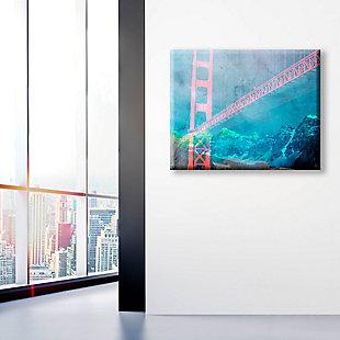 Orange Neon Bridge 24 X 36 Canvas Wall Art, Blue/Red, large