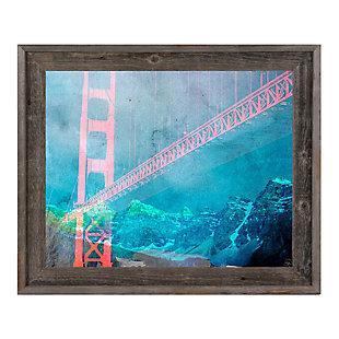 Orange Neon Bridge 30 x 40 Barnwood Framed Canvas, , rollover