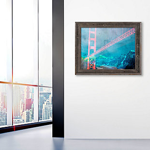 Orange Neon Bridge 30 x 40 Barnwood Framed Canvas, , large