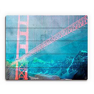 Orange Neon Bridge 20 x 24 Wood Plank Wall Art, Blue/Red, rollover