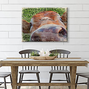 Close Up Cow Alpha 24x36 Canvas Wall Art, Green/Brown, large