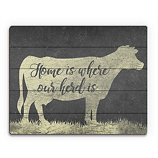 Herd Home Yellow 20X24 Wood Plank Wall Art, Black/Gray/White, rollover