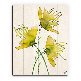 Wild Wild Flowers Alpha 20X24 Wood Plank Wall Art, Yellow/Green, rollover