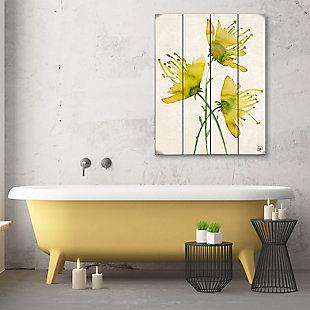 Wild Wild Flowers Alpha 20X24 Wood Plank Wall Art, Yellow/Green, large