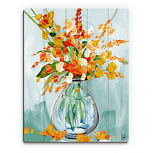 Floral Perfection Tiger 20X24 Wood Plank Wall Art, Blue/Orange, rollover