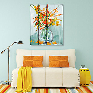 Floral Perfection Tiger 20X24 Wood Plank Wall Art, Blue/Orange, large