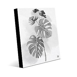 Split Leaf Philodendron Noir 24X36 Acrylic Wall Art, Black/Gray/White, large