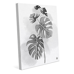 Split Leaf Philodendron Noir 24X36 Canvas Wall Art, Black/Gray/White, rollover